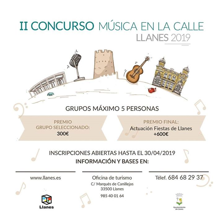 Cartel II concurso de música en la calle Llanes